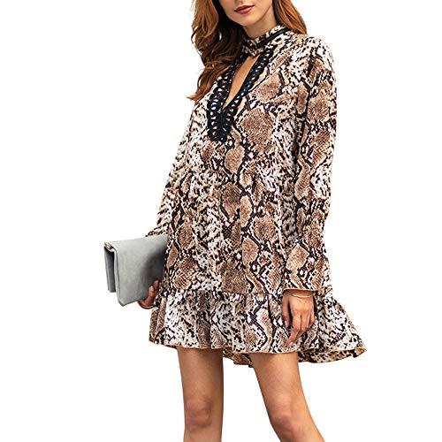 A Da Leopardato Vestito A Bodycon Donna Stampa EleganteVestiti Sera V Abiti Eleganti Manica Tromba Mini Abito Party Lunga Sexy Lianmengmvp Con Scollo cachi qpSzMVUG