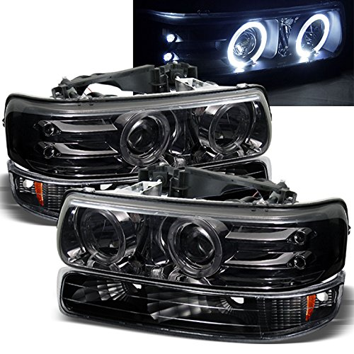 02 Chevrolet Silverado Halo Projector - Xtune For 1999-2002 Chevy Silverado, 2000-2006 Suburban/Tahoe Smoked Halo LED Projector Headlights + Black Bumper Lights Set