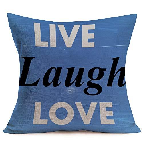 Aremetop Live Laugh Love Inspirational Quote Words Cotton Linen Decorative Throw Pillow Case Cushion Cover Square Home Sofa Decorative 18x18 Inch,Blue Wood Background (Live Laugh Love-Blue)