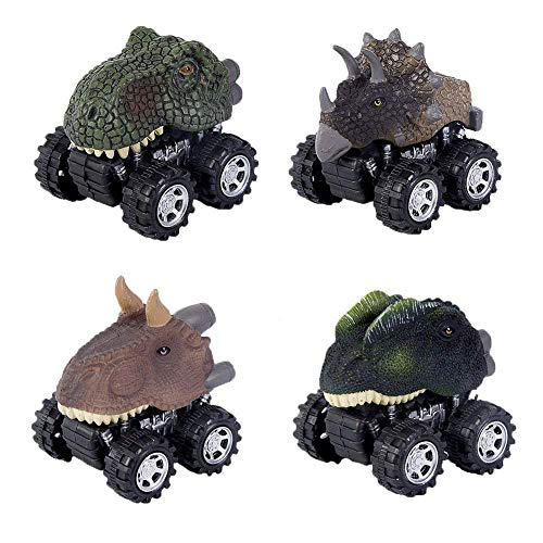 Lifelike Dinosaur Cars Pull Back Vehicles 4 Pack Mini Animal Car Figures Toy Truck with Big Wheels Tires Design for Boys Girls and Kids Gift by Erlsig