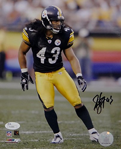 Troy Polamalu Signed Pittsburgh Steelers 8x10 On Field PF Photo- JSA Auth (Troy Polamalu Hand Signed)