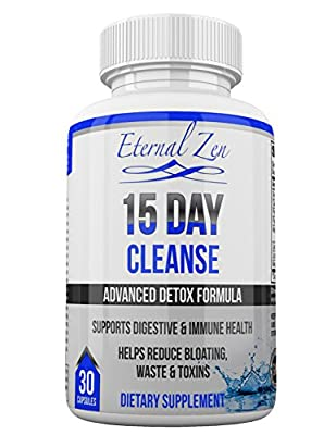 15 Day Cleanse, Superfood Detox Supplement For The Colon, Purifying Non GMO Nutritional Support For Weight Loss And Energy Boost, Made In The USA With 100% Natural Herbs Senna Aloe Psyllium Flax Seed