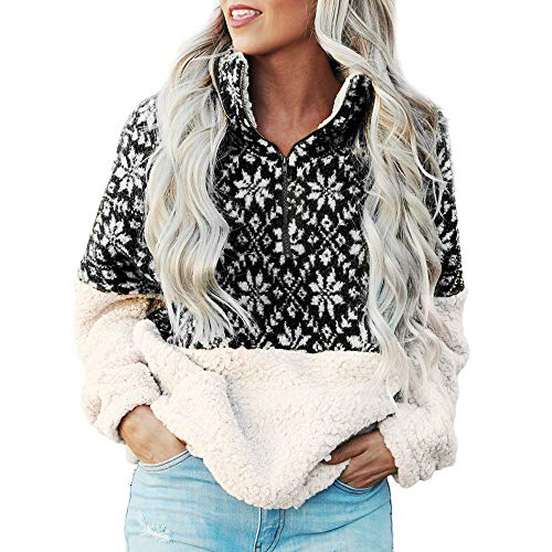 (Women's Sweatshirts Warm Fleece Xmas Snowflake Casual Zipper Tunic Sweaters Pullover Jumpers with Pockets for Teen Girls)