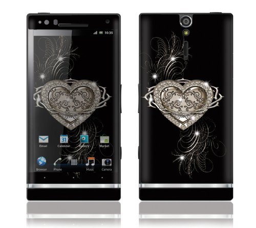 Sony Xperia S Decal Phone Skin Decorative Sticker w/ Free Matching Wallpaper - Bling Heart of Thorns