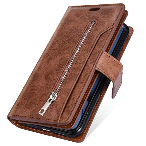 Price comparison product image MoreChioce Compatible with Galaxy A70 Case, Galaxy A70 Zipper Leather Case,  Luxury Premium Synthetic Leather Multifunction Zipper Pocket Design [9 Card Slots] Wallet Flip Case, (Brown)