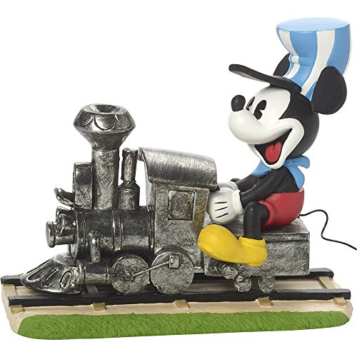 (Precious Moments, Disney Showcase Mickey Mouse Figurine, On The Right Track, Resin, #171703)