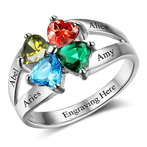 Diamondido Personalized Mother's Day Rings Family Jewelry Engrave Names Simulated Birthstone Rings for Women (7)