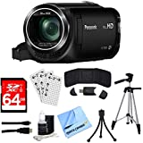 "Panasonic HC-W580K Full HD Camcorder w/Wi-Fi, Built-in Multi Scene Twin Camera - Black w/Bundle Includes, 64GB High Speed Memory Card, 57"" Full size Tripod & 6' High Speed mini-HDMI to HDMI A/V Cable"