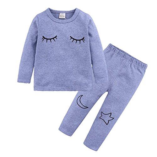 Clearance,Yang-Yi Hot 2018 Toddler Baby Boy Girl Kids Sleepwear Set Print Tops T-Shirt +Pants Pajama (Gray, 130cm/6T)