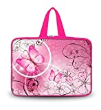 """OHS10-024 NEW art design Pink flower & butterfly 9.7"""" 10"""" 10.1"""" 10.2"""" inch soft Neoprene Laptop Netbook Tablet Handle Sleeve bag Case Carrying cover pouch Holder Protection For apple iPad 2 3 4/new ipad 5 air /Asus EeePC 10 transformer/Acer Aspire one/Del"""