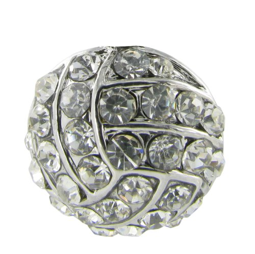 - Small Volleyball Charm Rhinestone Adjustable Ring with Clear Crystals