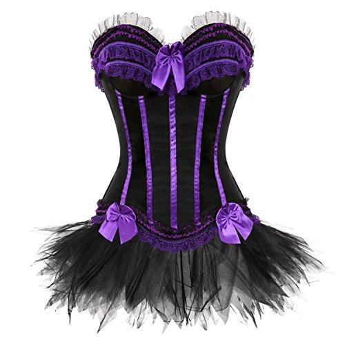 Blidece Gothic Lace up Corset Skirt Showgirl Clubwear Lingerie Costume L (Vest Renaissance Girl Costume)