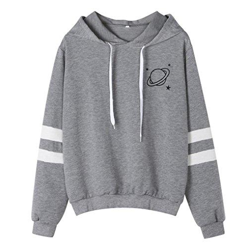 (BCDshop Womens Sweatshirt Hoodie Long Sleeve Causal Saturn Star Print Tops Blouse (Gray, L))