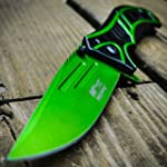 8 M Tech Spring Assisted Open Green Blade Combat Tactical Folding Pocket Knife