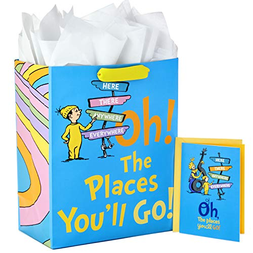 Hallmark Large Dr. Seuss Graduation Gift Bag with Tissue Paper and Graduation Card (Oh! the Places You'll Go!)