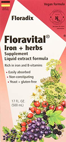 Floravital Liquid Iron Supplement + Herbs 17 Ounce LARGE - Vegan, Non GMO & Gluten Free - Non Constipating, Yeast Free for Men & Women