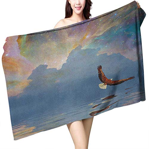 flymeeo Custom Bath Towel Eagle Majestic Huge Bird Flying Above The Sea into The Starry Sky Freedom Themed Image W12 xL35 Suitable for bathrooms, Beaches, - Bath Fixture Majestic