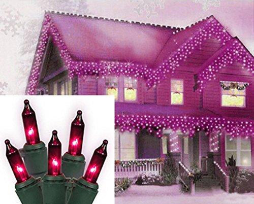 Vickerman Pink Purple Mini Christmas Lights with Green Wire, Set of -