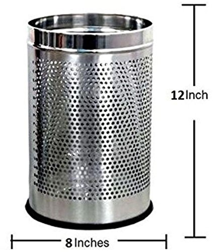 Royal Sapphire Stainless Steel Perforated Open Dustbin (10l) (8x8x13) 2
