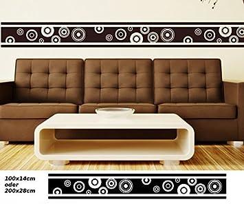 Wandtattoo Selbstklebend Bordüre Retro Style Kreis Quadrat Streifen Set  Kreise Banner Aufkleber Wohnzimmer 1U143, Farbe