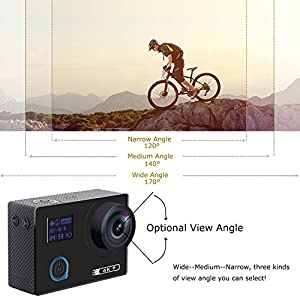 "Aokon ARC500 4K Action Camera 16MP Waterproof Underwater Night Mode Ultra HD Sports Cam with 2"" Dual Screens/120°- 170° Adjustable Wide Angle Lens/Rechargeable Remote/2 Batteries/20 Accessories Kits"