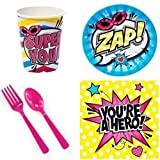 BirthdayExpress Girls Superhero Party Supplies for 16 Guests