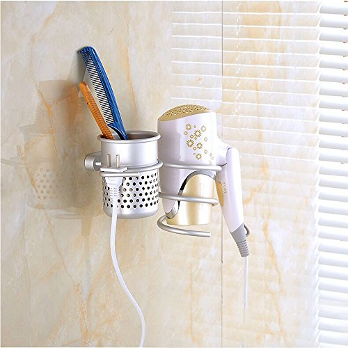 TEKEFT Sliver Light Weight Aluminum Round Hair Dryer Shelf with Plug buckle and hollowed cup Multifunctional Wall Mount Bathroom Organizer Collection Storage 50%OFF