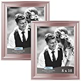 Icona Bay 8x10 Rose Gold Picture Frames (8 x 10, Set of 2, Rose Gold) Photo Frame, Wall Mount or Table Top, Black Velvet Back, Landscape as 10x8 Picture Frame or Portrait as 8x10, Elegante Collection