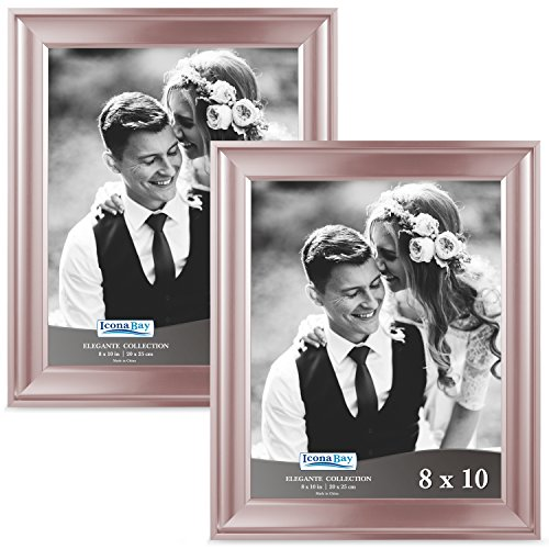 Icona Bay 8x10 Picture Frame (2 Pack, Rose Gold), Rose Gold Photo Frame 8 x 10, Wall Mount or Table Top, Set of 2 Elegante Collection
