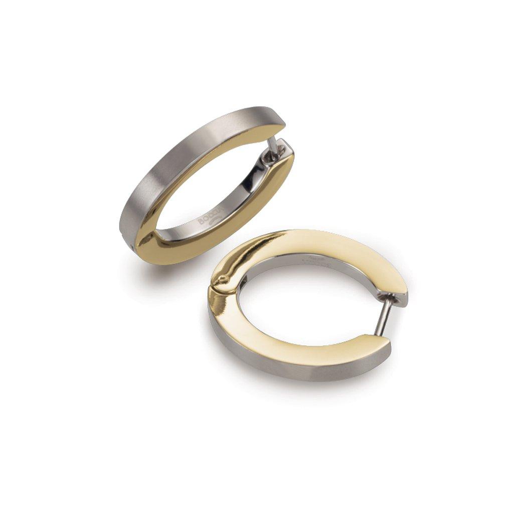 0558-03 Boccia Titanium with Polished GP Hoop Earrings