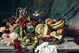 Still Life fruit melon oranges and flowers butterflies by Hans Zatzka Tile Mural Kitchen Bathroom Wall Backsplash Behind Stove Range Sink Splashback 6x4 6'' Ceramic, Glossy