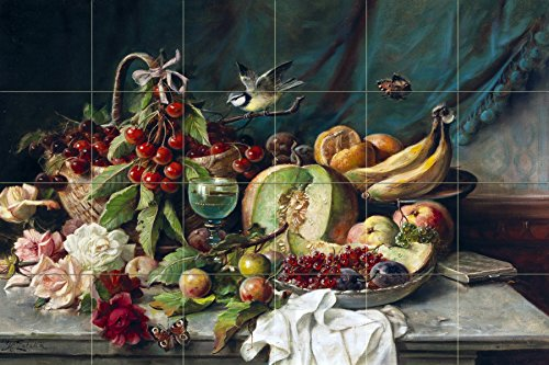 Still Life fruit melon oranges and flowers butterflies by Hans Zatzka Tile Mural Kitchen Bathroom Wall Backsplash Behind Stove Range Sink Splashback 6x4 6'' Ceramic, Glossy by FlekmanArt