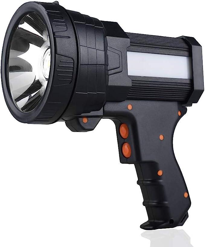 YIERBLUE Rechargeable spotlight, Super Bright 6000 Lumen LED Flashlight Handheld spotlight 10000mAh Long Lasting Large Flashlight Searchlight and Flood Camping Flashlight with Foldable Tripod (Black) - - Amazon.com