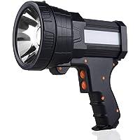YIERBLUE Rechargeable spotlight, Super Bright 6000 Lumen LED Flashlight Handheld spotlight 10000mAh Long Lasting Large…