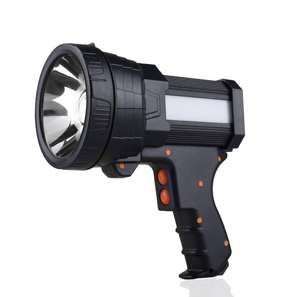 YIERBLUE Rechargeable spotlight, Super Bright 6000 Lumen LED Flashlight Handheld spotlight 10000mAh Long Lasting Large Flashlight Searchlight and Flood Camping Flashlight with Foldable Tripod