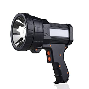 YIERBLUE Rechargeable spotlight, Super Bright 6000 Lumen LED Flashlight Handheld spotlight 10000mAh Long Lasting Large Flashlight Searchlight and Flood Camping Flashlight with Foldable Tripod