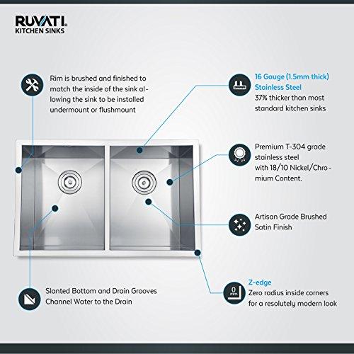 Ruvati RVH7350 Undermount 16 Gauge Kitchen Sink Double Bowl, 30'', Stainless Steel by Ruvati (Image #3)