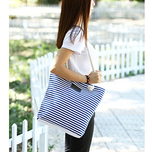 Ladies Blue Tote Summer Stripe Women Shoulder Beach Canvas Handbags Millya Zipper Bag PWCwq5YW