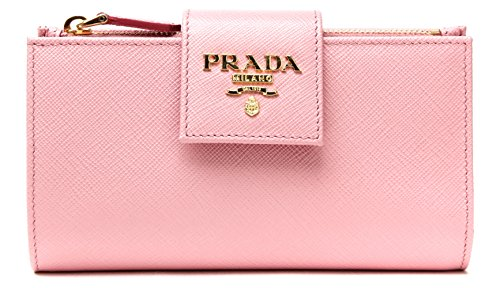 Wiberlux Prada Women's Metal Logo Detail Real Leather Tab Wallet One Size Light - Prada Pink