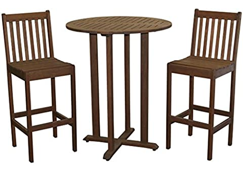 Timbo Torino Hardwood Outdoor Patio Bar Bistro Set with a Bar Bistro Table & 2 Bar Height Chairs, Table, Brown