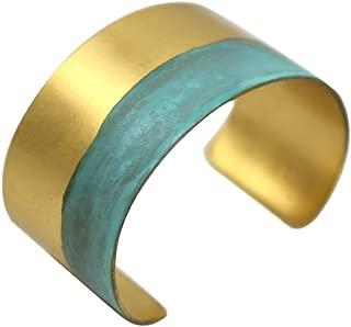 "product image for Modern Artisans Rising Tide Green Verdigris Brass Cuff Bracelet, 1.25"" Width, American Handmade"