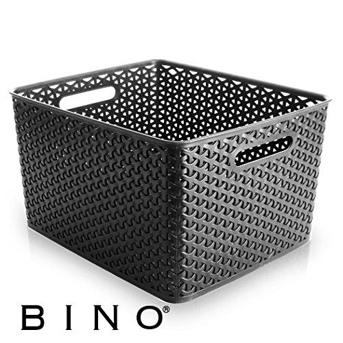 BINO T-Weave Woven Plastic Storage Basket, Large (Grey) (Wicker Basket Drawer)