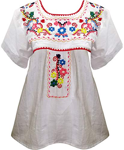 YZXDORWJ Women's Embroidered Mexican Peasant Blouse (S, WH159)