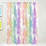 Cheap Cooper girl Rainbow Stripe Unicorn Decorative Window Curtain Panels Drapes Blackout Thermal Insulated 84×110 Inch Two Panel Set