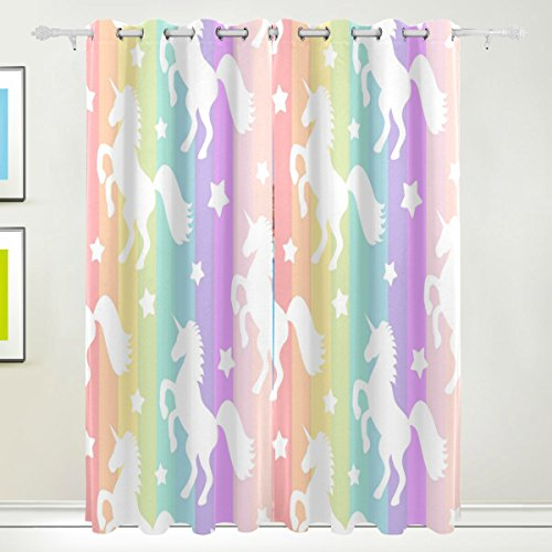 Cooper girl Rainbow Stripe Unicorn Decorative Window Curtain Panels Drapes Blackout Thermal Insulated 84x110 Inch Two Panel Set