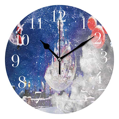 FunnyCustom Round Wall Clock Christmas Day Santa Claus Castle Acrylic Creative Decorative for Living ()