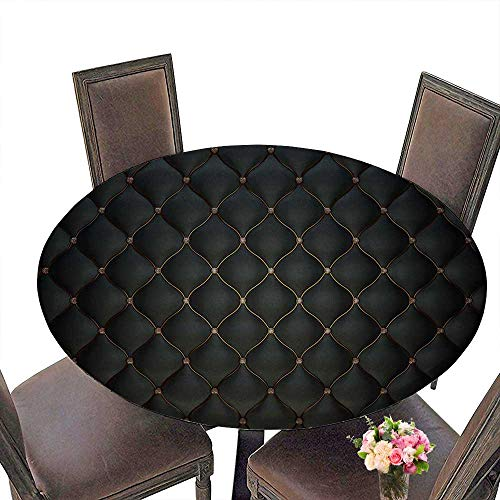 PINAFORE Luxury Round Table Cloth for Home use Black Leather for Buffet Table, Holiday Dinner 55