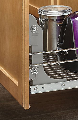 090713048475 - Rev-A-Shelf - 5WB1-1522-CR - 15 in. W x 22 in. D Base Cabinet Pull-Out Chrome Wire Basket carousel main 4