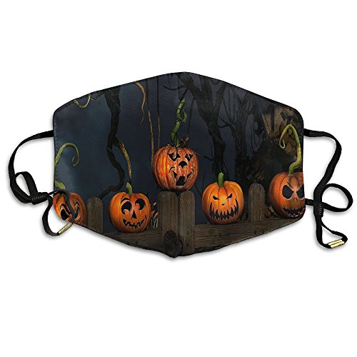 N7bloom Womens Fashion Mouth Face Mask Halloween Pumpkin On The Wooden Door.jpg