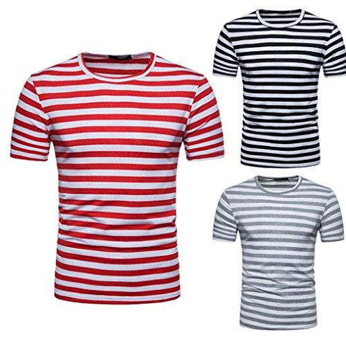 OHQ Blusa Superior de la Camiseta del Verano del Cuello Redondo de la Raya de los Hombres Ocasionales,Camisa de…